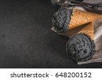 trendy food. black ice cream...   Shutterstock . vector #648200152