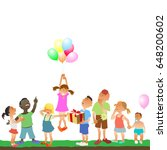 children of different ages and... | Shutterstock .eps vector #648200602