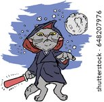 funny cartoon cat dressed in a...   Shutterstock .eps vector #648207976