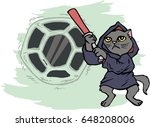 funny cartoon cat dressed in a...   Shutterstock .eps vector #648208006