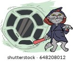 funny cartoon cat dressed in a...   Shutterstock .eps vector #648208012