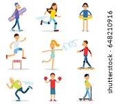 teenagers children playing...   Shutterstock .eps vector #648210916