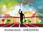 silhouette of marathon runner   Shutterstock .eps vector #648224542
