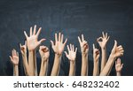group of people rise hands .... | Shutterstock . vector #648232402