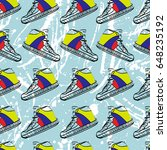 seamless pattern with sneakers... | Shutterstock .eps vector #648235192