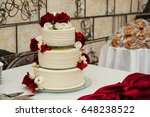 white wedding cake with flowers ...   Shutterstock . vector #648238522