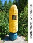 Roadside corn statue along Hwy 101 in Pepperwood, California
