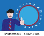 western man shows a thumbs up... | Shutterstock .eps vector #648246406
