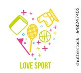 love sport symbol in heart... | Shutterstock .eps vector #648247402