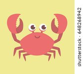 Cute Smiling Red Crab Vector...