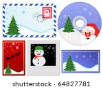 Set of Christmas elements, vector illustration - stock vector