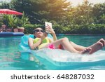 pretty woman in swimsuit and... | Shutterstock . vector #648287032