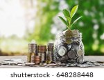 plant growing coins in glass ... | Shutterstock . vector #648288448