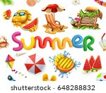 summer holiday set. 3d vector... | Shutterstock .eps vector #648288832