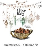 ramadan kareem iftar party... | Shutterstock .eps vector #648306472