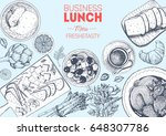 business lunch top view frame....   Shutterstock .eps vector #648307786