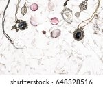 great set of jewelry for women. ... | Shutterstock . vector #648328516