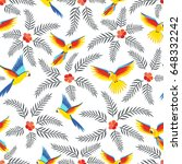 seamless pattern with parrots....   Shutterstock .eps vector #648332242