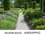 english garden with blooming... | Shutterstock . vector #648349942
