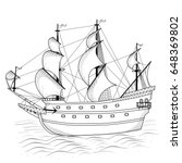 vintage ship with sails and... | Shutterstock .eps vector #648369802