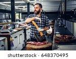 portrait of a bearded meat man... | Shutterstock . vector #648370495