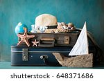 packed vintage suitcase for... | Shutterstock . vector #648371686