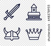 medieval icons set. set of 4... | Shutterstock .eps vector #648378955