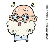 cute cartoon surprised old man | Shutterstock .eps vector #648379408