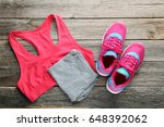 pink sport shoes with... | Shutterstock . vector #648392062
