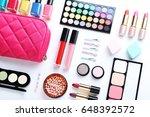 different makeup cosmetics on a ... | Shutterstock . vector #648392572