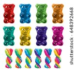 vector gummy bear candies and... | Shutterstock .eps vector #648392668