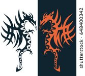 set dragon tattoo or emblem... | Shutterstock .eps vector #648400342