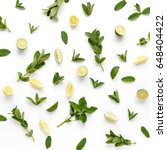 pattern of mint  lemon and lime.... | Shutterstock . vector #648404422