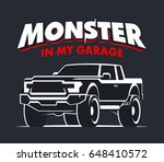 monster truck garage logo.... | Shutterstock . vector #648410572