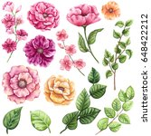 Set of Watercolor Greenery and Bright Pink Flowers