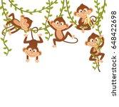 Monkey On Vine    Vector...