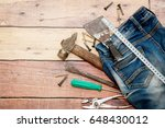 a lot of tools on a wooden... | Shutterstock . vector #648430012