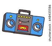 cartoon retro cassette tape... | Shutterstock .eps vector #648435586