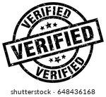 verified round grunge black... | Shutterstock .eps vector #648436168
