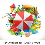 summer holiday set  3d vector...