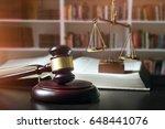 gavel in court room library....   Shutterstock . vector #648441076