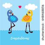 cute flamingo wedding card... | Shutterstock .eps vector #648468856