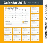 calendar template for 2018 year.... | Shutterstock .eps vector #648470356