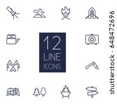 set of 12 camping outline icons ... | Shutterstock .eps vector #648472696