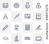 set of 16 science outline icons ... | Shutterstock .eps vector #648473176