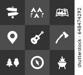 set of 9 adventure icons set...