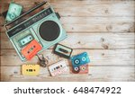 top view hero header   retro... | Shutterstock . vector #648474922
