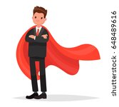 businessman in a red cloak.... | Shutterstock .eps vector #648489616