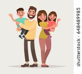 happy family on isolated... | Shutterstock .eps vector #648489985