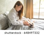 woman sleep and hugging with... | Shutterstock . vector #648497332